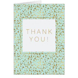 Gold and Mint Animal Print Thank You Card