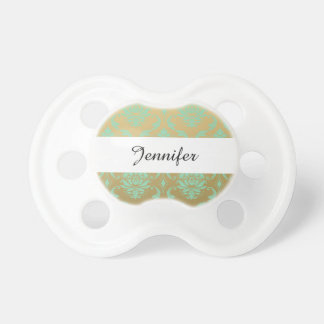 Gold and Mint Classic Damask Baby Pacifiers