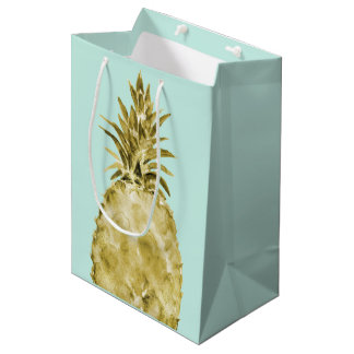 Gold and Mint Watercolor Pineapple Medium Gift Bag