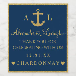 Gold and Navy Blue Anchor Monogram Wedding Wine Label