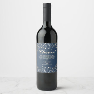 Gold and Navy Blue Baby's Breath Elegant Wine Label
