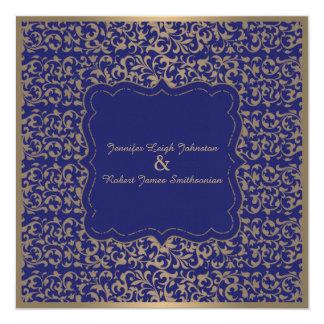 Gold and Navy Blue Filigree Wedding Invitation