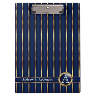 Gold and Navy Blue Stripes Clipboards