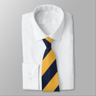 Gold and Navy Blue Stripes Tie