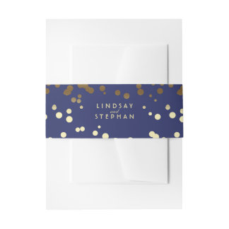 Gold and Navy Elegant Confetti Dots Wedding Invitation Belly Band