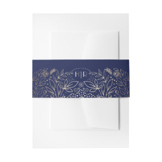 Gold and Navy Floral Garden Bouquet Monogram Invitation Belly Band