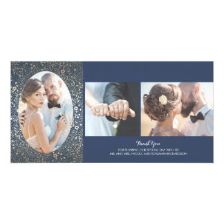 Gold and Navy Floral Photo Wedding Thank You Photo Greeting Card