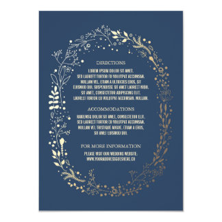 Gold and Navy Floral Wreath Wedding Details Card