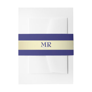 Gold and Navy Monogram Wedding Belly Bands Invitation Belly Band