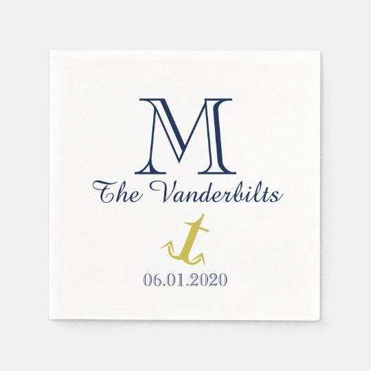 Gold and Navy Nautical Anchor Beach Wedding Napkin Paper Napkin