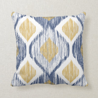 Gold and Navy Ogee Ikat Pattern Throw Pillow