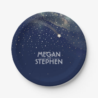 Gold and Navy Shooting Star Night Wedding Paper Plate