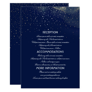 Gold and Navy Starry Night Wedding Information Card