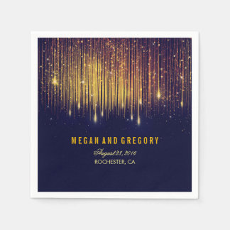 Gold and Navy String Lights Glitter Wedding Disposable Napkins