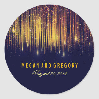 Gold and Navy String Lights Wedding Round Sticker