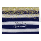 Gold and Navy Will You Be My Bridesmaid Card