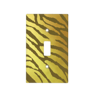 Gold and Olive-Brown Tiger-Striped Light Switch Cover