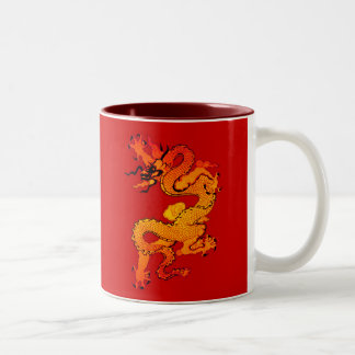 Gold and Orange Dragon for Chinese New Year Two-Tone Coffee Mug