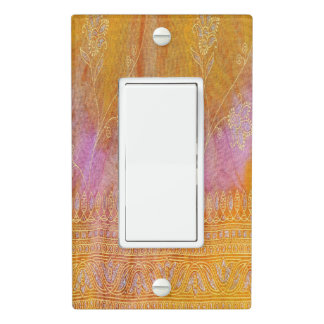 Gold and orange floral oriental material light switch cover
