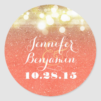 Gold and Peach Glitter String Lights Wedding Classic Round Sticker