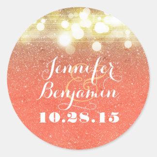 Gold and Peach Glitter String Lights Wedding Round Sticker