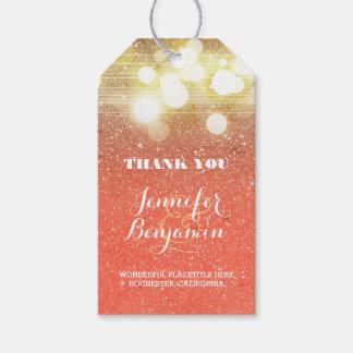 Gold and Peach string lights glitter wedding Gift Tags