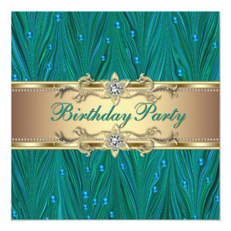"""Gold and Peacock Teal Blue Birthday Party 5.25"""" Square Invitation Card"""