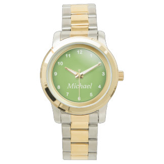 Gold and Peridot Green with White Numbers Watch