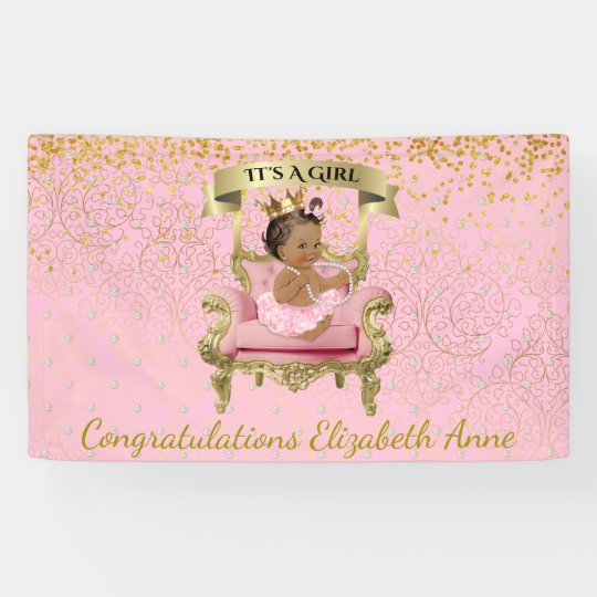 Gold and Pink Baby Princess Baby Shower Banner