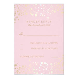 """Gold and Pink Baby's Breath Wedding RSVP Cards 3.5"""" X 5"""" Invitation Card"""