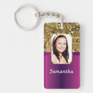 Gold and pink bling Double-Sided rectangular acrylic keychain