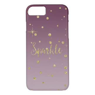 Gold and Pink Faux Glitter Confetti Sparkle iPhone 7 Case
