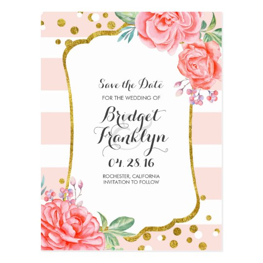 gold and pink floral confetti stripe save the date postcard