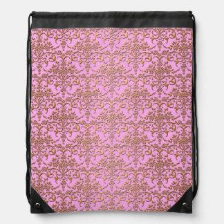 Gold and Pink Floral Damask Cinch Bag