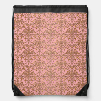 Gold and Pink Floral Damask Drawstring Bags