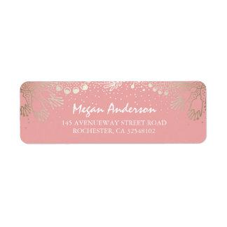 Gold and Pink Garden Wonderland Wedding Return Address Label
