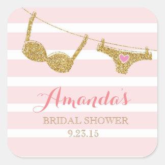 Gold and Pink Lingerie Bridal Shower Favor Sticker