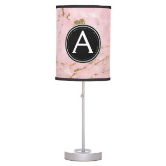 Gold and Pink Marble Monogram Lamp
