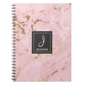 Gold and Pink Marble Monogram Notebook