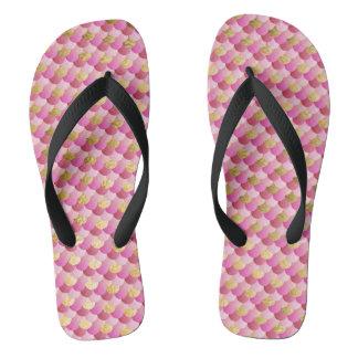 Gold and Pink Mermaid Scales Flip Flops