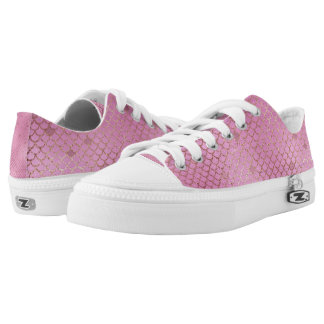 Gold and Pink Mermaid Scales Low-Top Sneakers