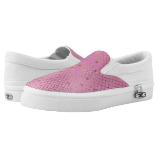 Gold and Pink Mermaid Scales Slip-On Sneakers