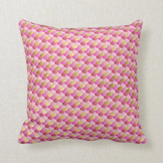Gold and Pink Mermaid Scales Throw Pillow