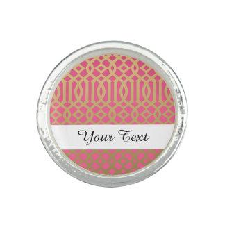 Gold and Pink Modern Trellis Pattern Photo Rings