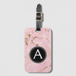 Gold and Pink Monogram and Stars Luggage Bag Tag