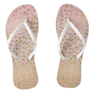 Gold and Pink Ombre Leopard Print Flip Flops
