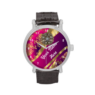 Gold and pink personalized damask pattern wrist watches