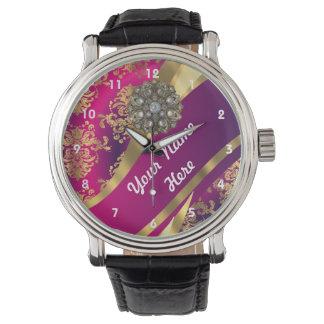 Gold and pink personalized damask pattern wristwatch