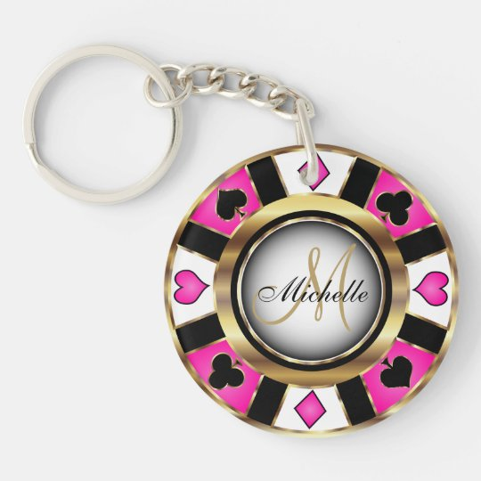 Gold and Pink Poker Chip Design - Monogram Double-Sided Round Acrylic Keychain