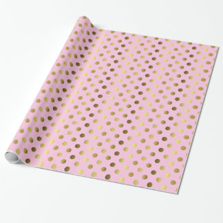Gold and Pink Polka Dot Wrapping Paper